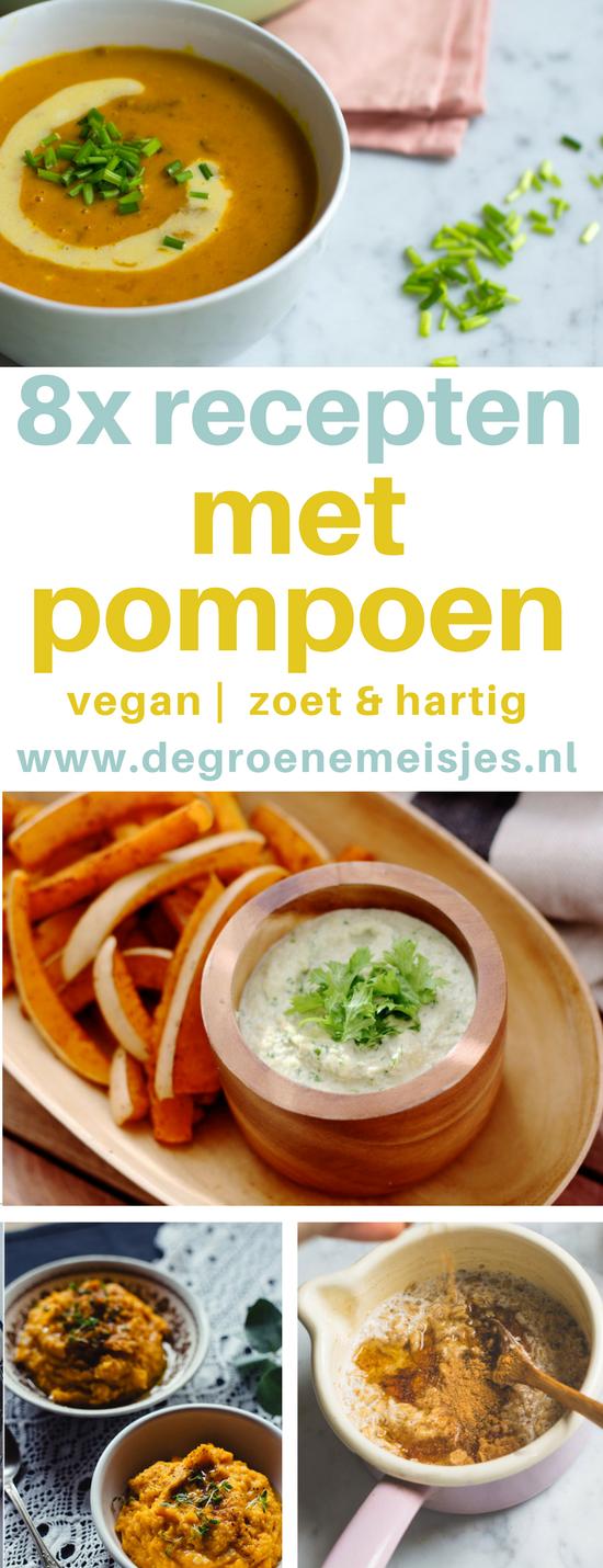 8 vegan recepten met pompoen. Lekkere zoete en hartige recepten, met pompoen kan het allemaal zoals oa. pompoencurry met bloemkool, pompoensoep, pompoenfrietjes, pompoencake, en maak zelf je pumpkin spice kruiden voor o.a. in je pumpkin spice latte. Lees alle recepten op de blog . #pompoen #Vegan