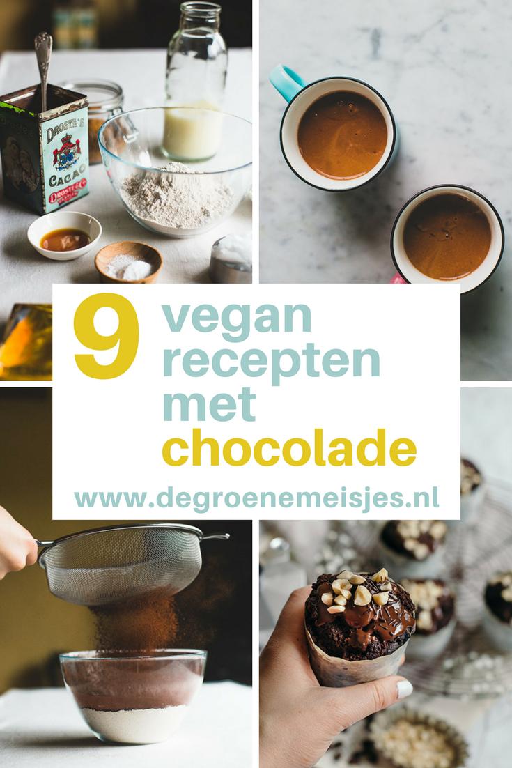 9 vegan recepten met chocolade van de groene meisjes. Voor chocolademelk, muffins, cake, chocolade mousse, amandelen, ijsjes brownies en nog veel meer.