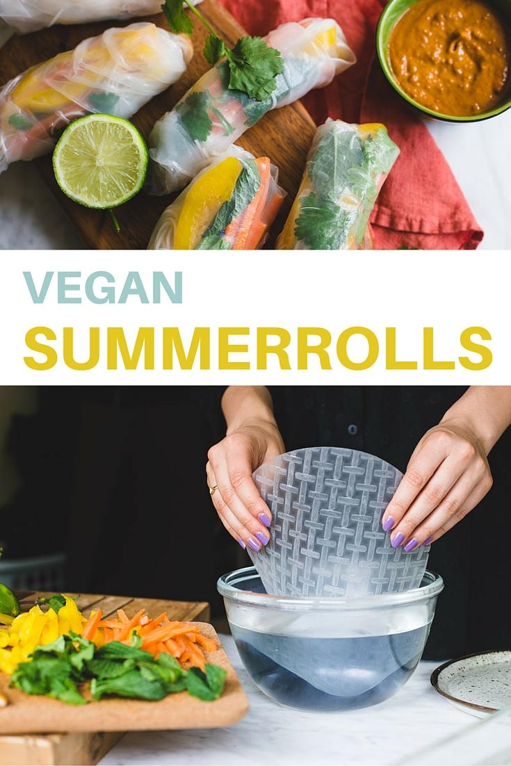 Maak deze heerlijke summerrolls. Vul de rijstvellen met alles wat je maar wilt en zijn een super lekkere, lichte vegan snack of maaltijd.