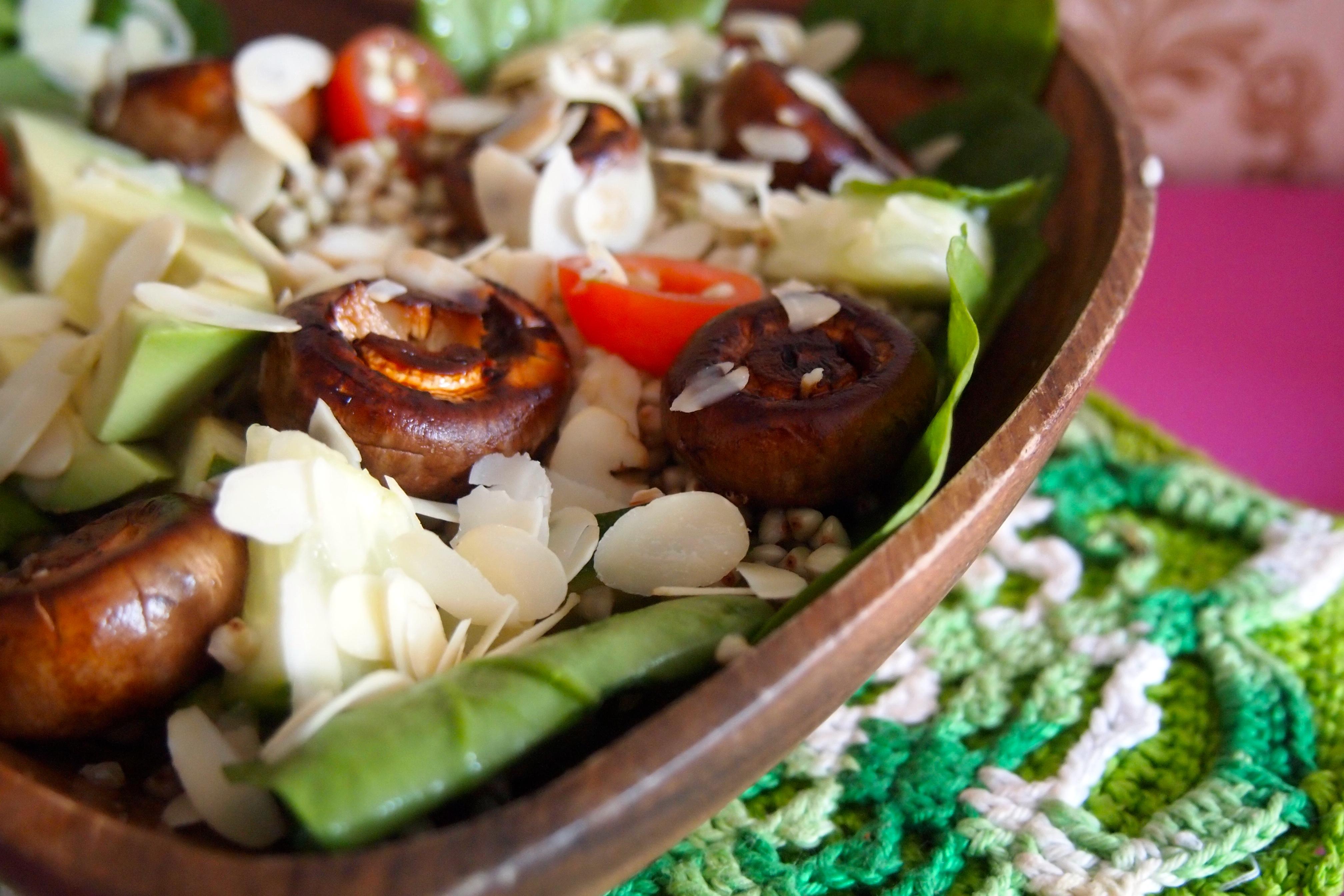 recept salade met boekweit en gemarineerde champignons de groene meisjes. Black Bedroom Furniture Sets. Home Design Ideas