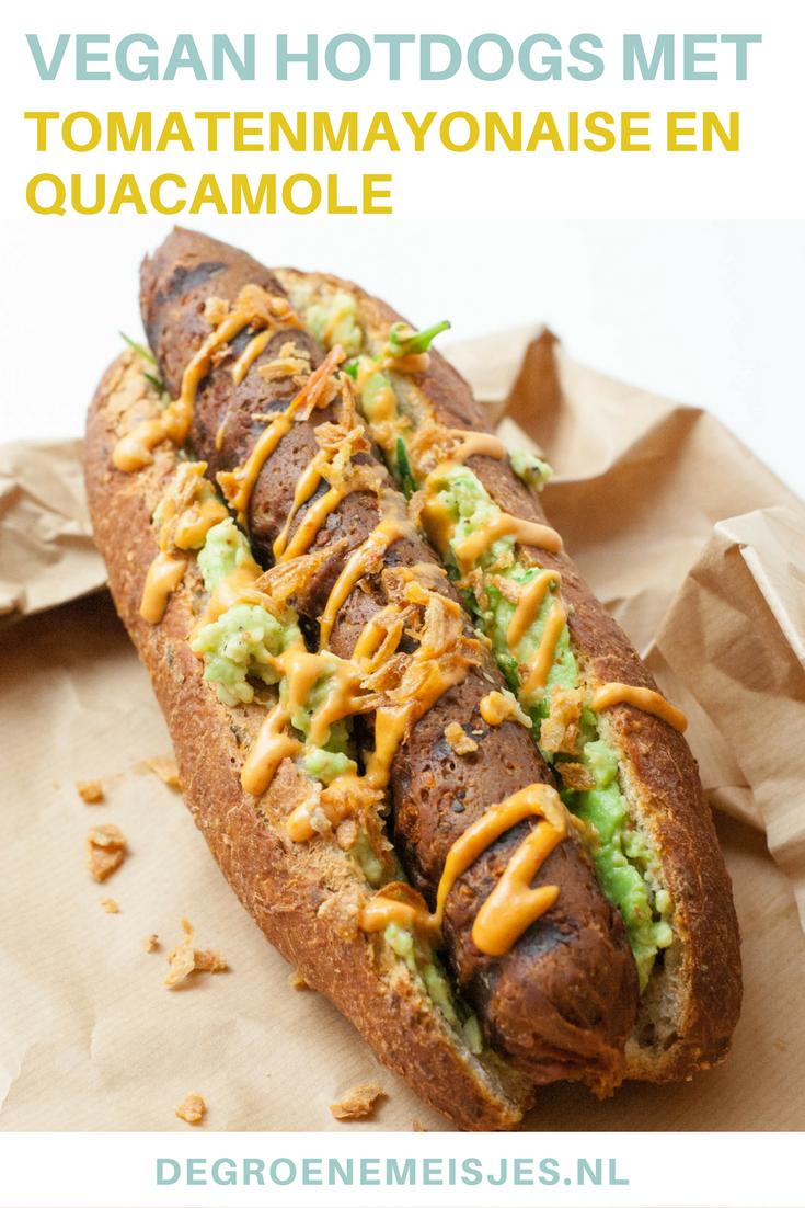 Recept voor vegan chorizo hotdogs van seitan met tomatenmayonaise en guacamole