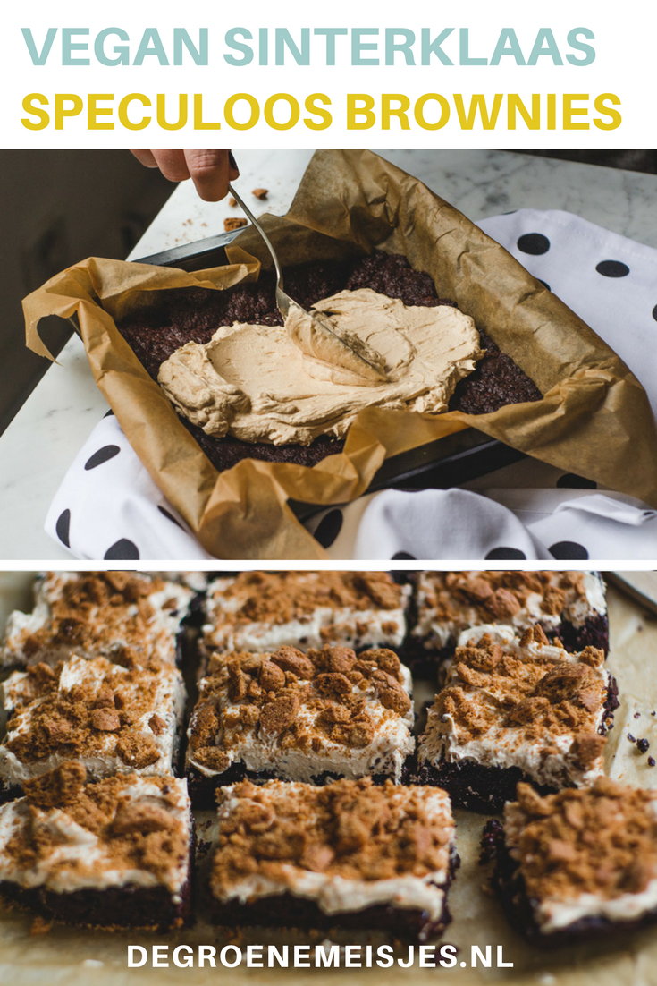 Onze Sinterklaas brownies. De perfecte manier om dit jaar vegan Sinterklaas te vieren. Recept voor Brownies met speculoos frosting en kruidnoten on top. 100% vegan. De brownie is een beetje krokant, de frosting is smeuïg en romig en dan die kruidnotencrunch on top…