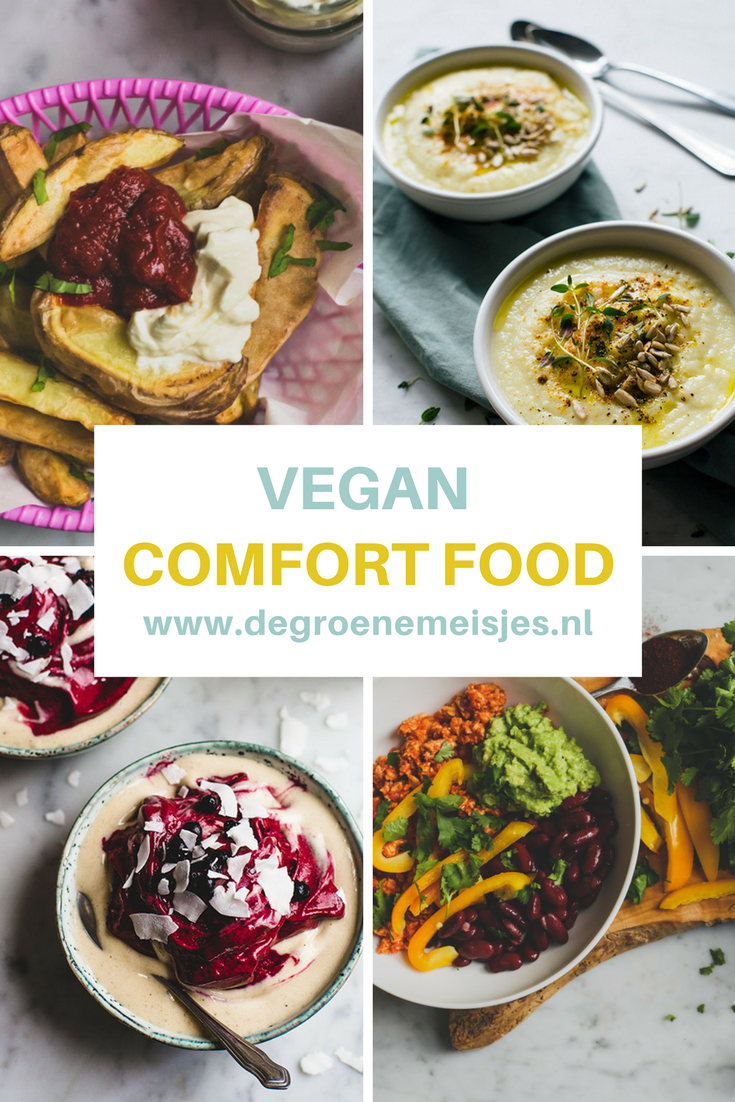 Mijn favorete vegan comfort food: vega burger, chili sin carna, curry met kokosmelk, pasta pesto, linzen of zoete aardappel soep, nacho's en banana softserve. Lees de recepten op de blog