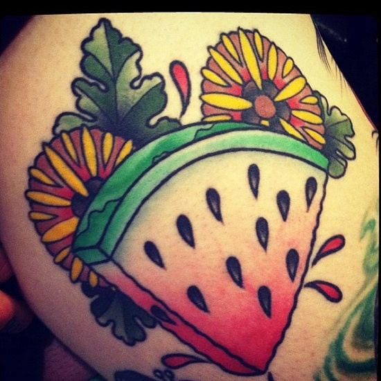 Watermelon tattoo by Thomas Kenney