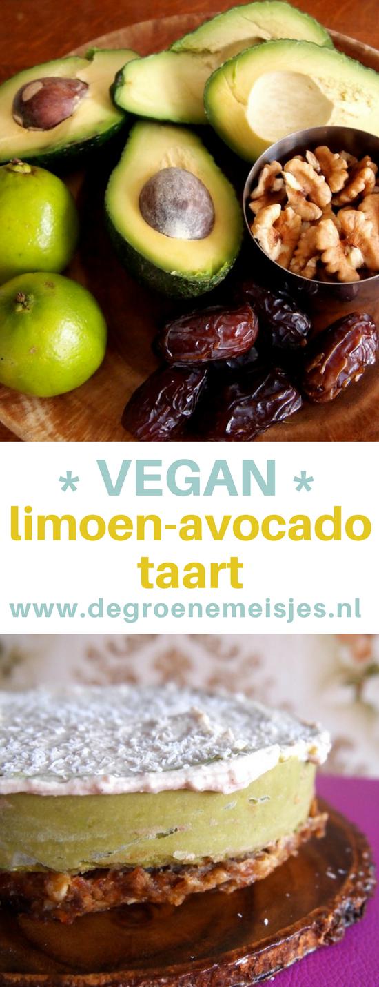 Recept: no bake avocado-limoentaart met coconut frosting en een bodem van dadels en walnoten #vegan #nobake #veganfood #avocado #limoen