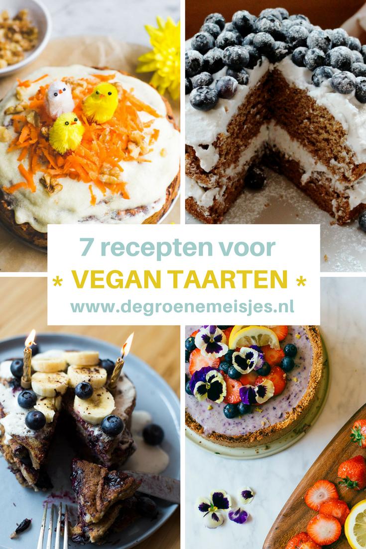 mijn 7 favoriete vegan taarten: worteltaart,  chocolademoussetaart, cheesecake, bananenpannenkoekentaart,  vegan kwarktaart,  en een feestelijke feesttaart.