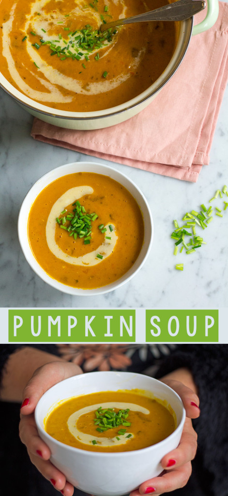 Amazing pumpkin soup with coconut milk and chantarelles.