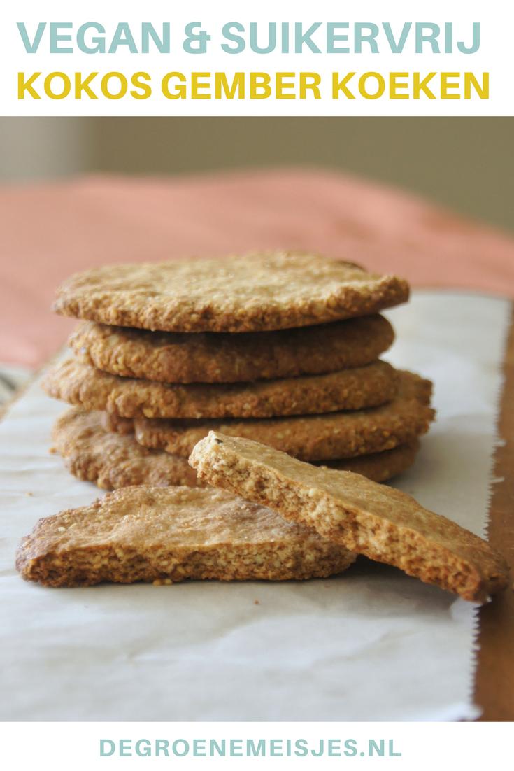 Recept vegan kokos gember koeken. Koekjes bakken. Wie vindt dat nu niet leuk. En deze zijn ook nog eens makkelijk, snel en super lekker. #vegan en #suikervrij