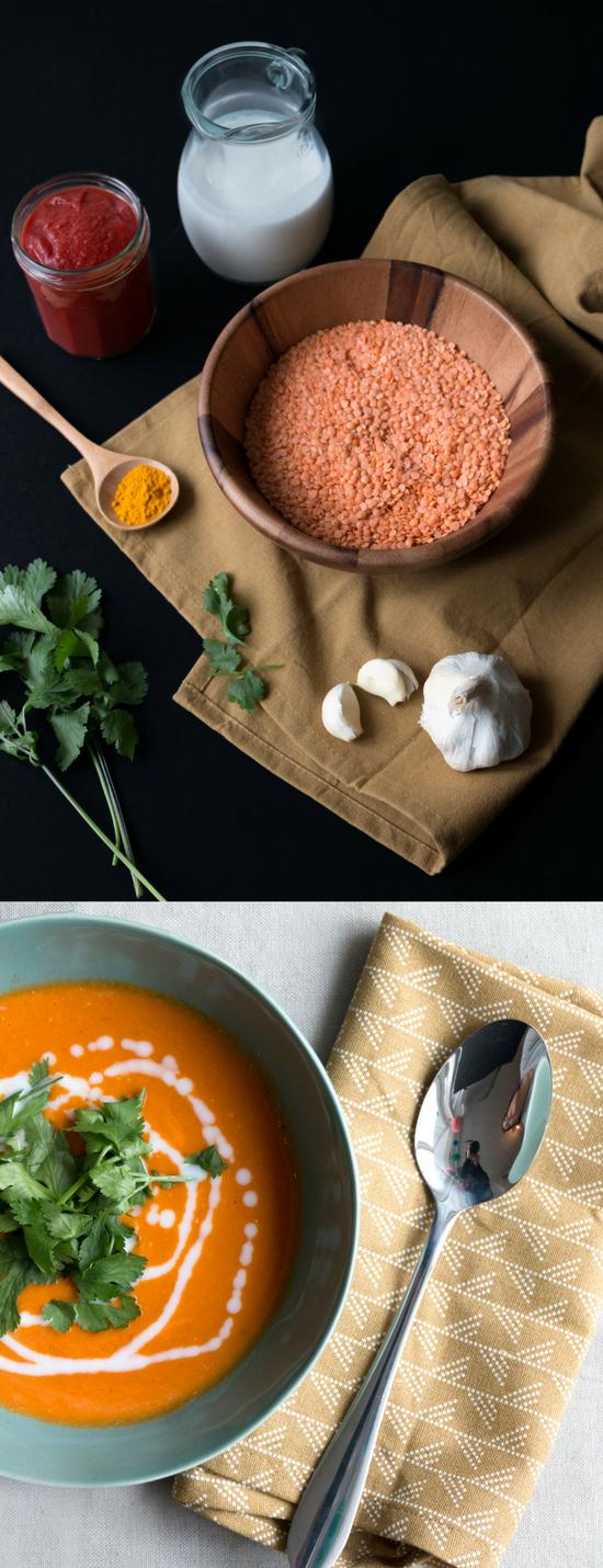 Recept vegan linzensoep met koikosmelk. Linzensoep is altijd een goed idee. Het is gezond, makkelijk, voedzaam, heerlijk én low-budget. #lowbudget #vegan #veganfood #linzen #kokosmelk