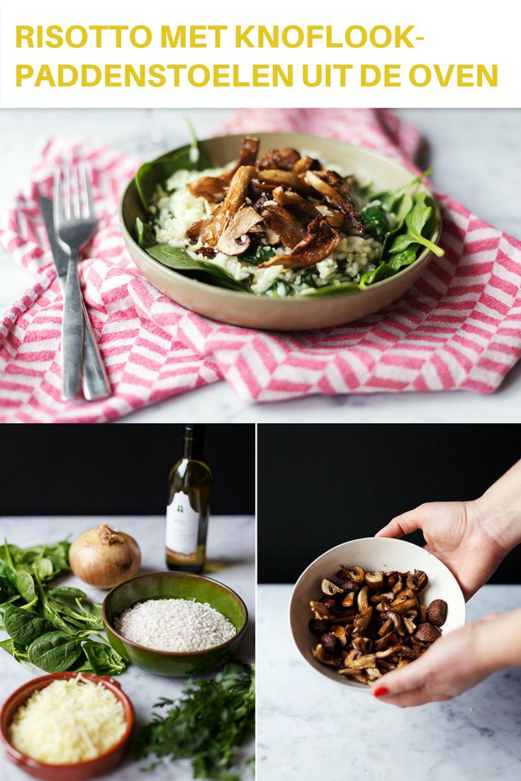 Vegan risotto met knoflookpaddenstoelen uit de oven risotto. Zelf was ik er nooit op gekomen om de paddenstoelen (eerst) in de oven te doen, maar dat is dus echt wel een meerwaarde in dit geval. Goed, genoeg gepraat. Laten we gaan koken! #risotto #paddenstoelen #vegan
