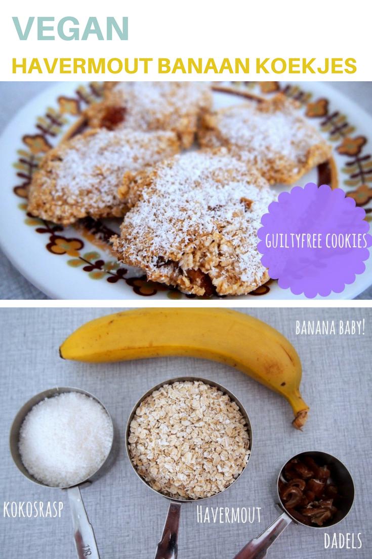 vegan havermout koekjes met banaan, kokos en dadels