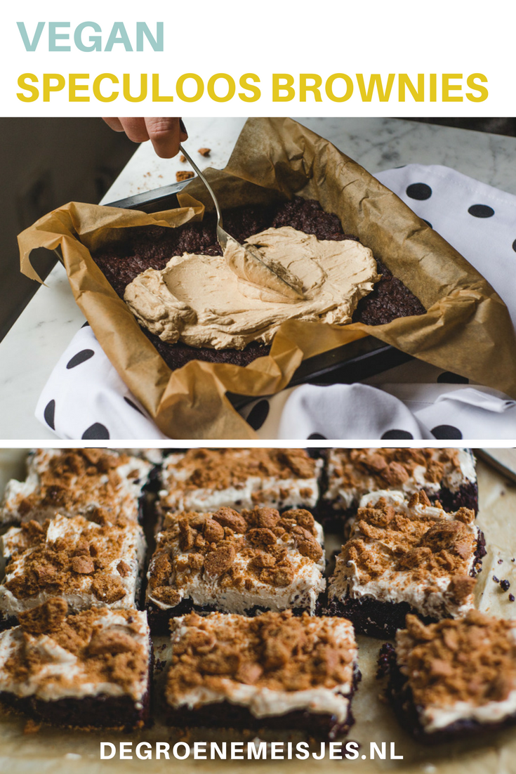 Recept voor Brownies met speculoos frosting en kruidnoten on top. 100% vegan. De brownie is een beetje krokant, de frosting is smeuïg en romig en dan die kruidnotencrunch on top…