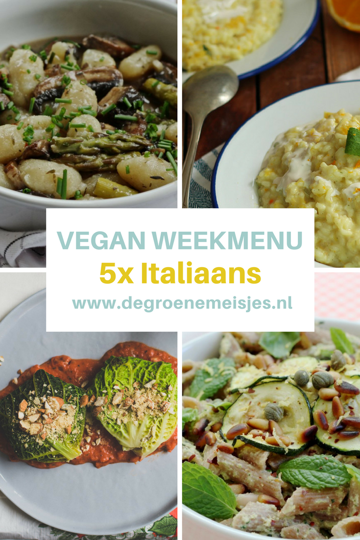 Vegan weekmenu met recepten voor 5 heerlijke italiaanse maaltijden zoals portobello's en gnocchi in romige saus, pasta met courgette-walnootpesto, sinaasappelrisotto met munt, koolpakketjes met vegan ricotta  #vgan #weekmenu #italiaans