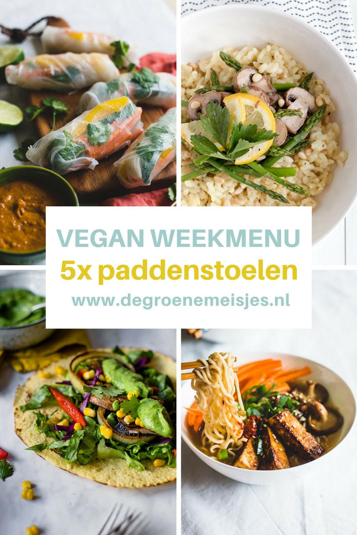 5 vegan recepten met paddenstoelen zoals Risotto met asperges en champignons , Taco's met portobello's, Ramen met shiitake, summerrolls met dipsaus etc.