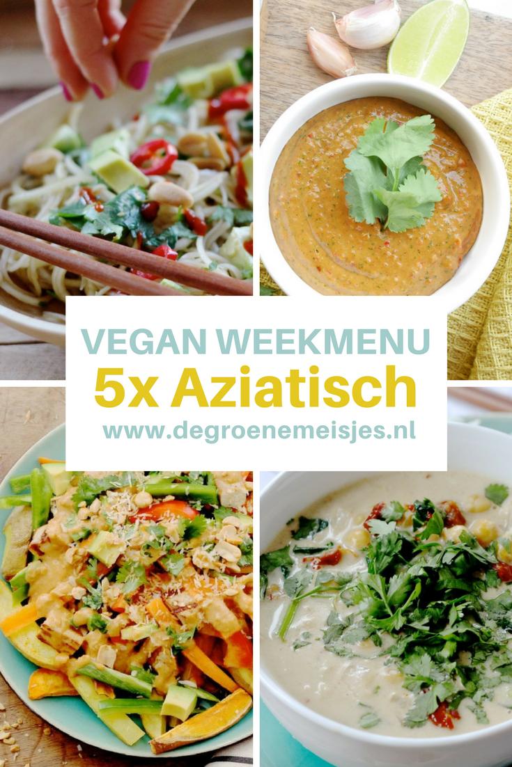 Vegan weekmenu met 5 aziatische gerechten zoals Vegan Nasi met verse pindasaus, Kokos curry, Wortel – pindasoep, Koolrabisalade, Aziatische aardappelschotel