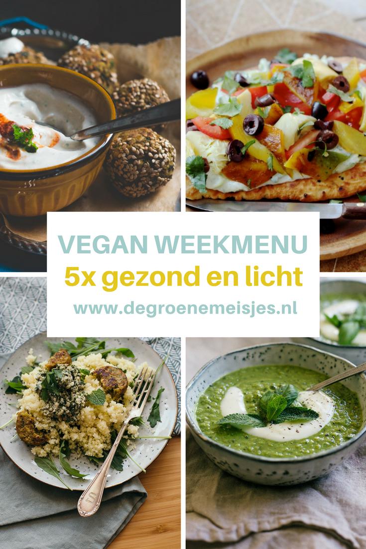 Vegan weekmenu: gezonde en lichte gerechten | couscous met muntpesto | falafel uit de oven | groene soep | pasta met courgette en walnootpesto en meer. Lees de recepten op de blog van De Groene Meisjes