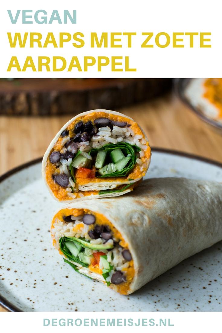 Maak dit vegan recept voor heerlijke wraps met een zoete aardappelvulling, spinazie, paprika, komkommer, zwarte bonen, rijst, komijnpoeder, paprikapoeder en chilipoeder van De Groene Meisjes